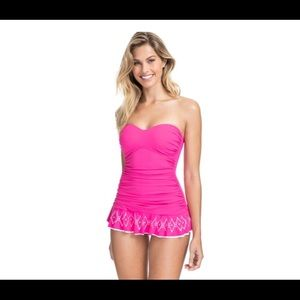 Profile Pink Bandeau Shirred Laser Cut Swimsuit